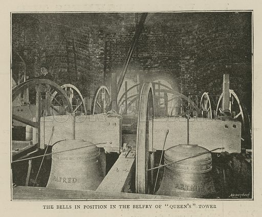 The Imperial Institute of the United Kingdom, the Colonies and India, London: The bells in position in the belfry of Queen's Tower; from The Graphic, 13 May 1893; photograph.