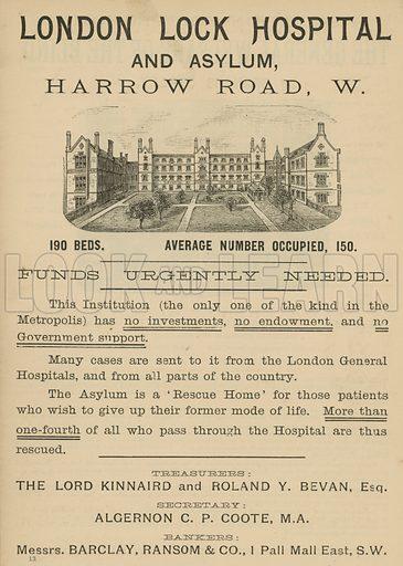 Advertisement for London Lock Hospital and Asylum, Harrow Road, London.