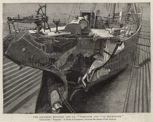 The collision between the SS Toreador and La Bourgogne; view of the Toreador in dock at Liverpool, showing the extent of her injuries; from The Graphic, 8 March 1890.