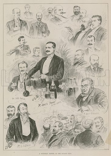 A Saturday dinner at the Savage Club, London; from The Illustrated Sporting and Dramatic News, 13 April 1895.