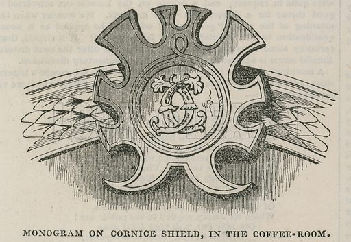 Interior of the Conservative Clubhouse, St James's Street, London: Monogram of the Cluib on Cornice Shield in the coffee room; from The Illustrated London News, 22 February 1845.