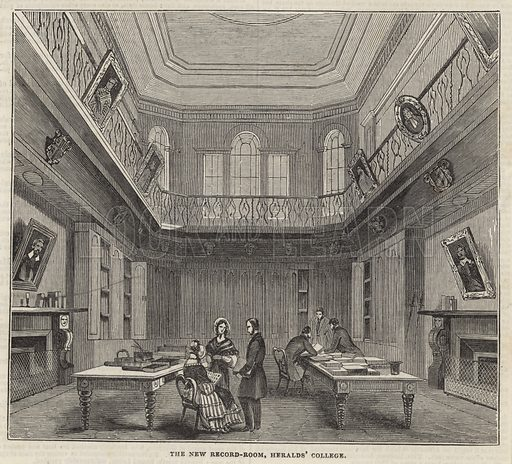 The new record room, Heralds' College, London; from The Illustrated London News, 1844.