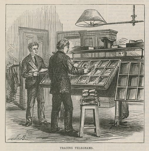 The Central Post Office Telegraph Establishment: Tracing telegrams; from The Illustrated London News, 19 December 1874.