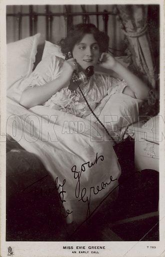 Miss Evie Greene: An early call; photograph