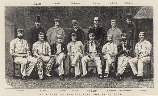 The Australian cricket team now in England; from The Graphic, 9 June 1888.