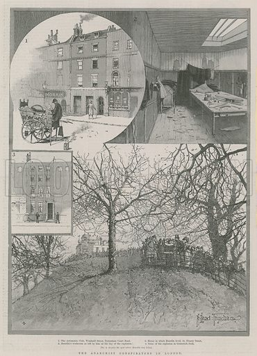 The anarchist conspirators in London, including (inset) The Automobile Club, Windmill Street, Bourdin's workroom, the house in which Bourdin lived in Fitzroy Street, and the scene of the explosion in Greenwich Park; from The Illustrated London News, 24 February 1894.