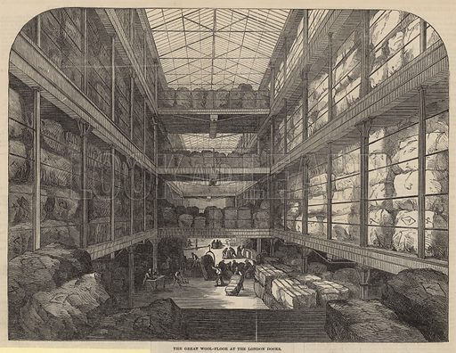 The great wool-floor at the London Docks; from The Illustrated London News, 31 August 1850.