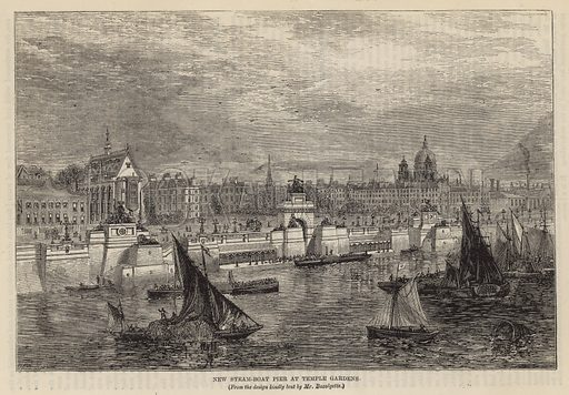 New steam boat pier at Temple Gardens, London; dated 1865.