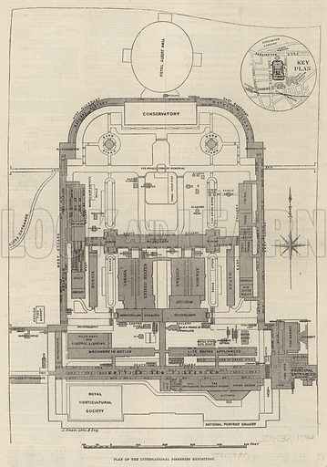 Ground plan of the International Fisheries Exhibition, South Kensington; from The Illustrated London News, 19 May 1883.