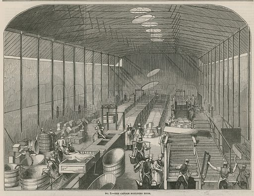 Price's Patent Candle Company's works; The candle moulding room; from The Illustrated London News, 8 December 1849.