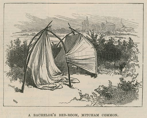 Sketches of Gipsy Life; A bachelor's bedroom, Mitcham Common, London; from The Illustrated London News, 3 January 1880.