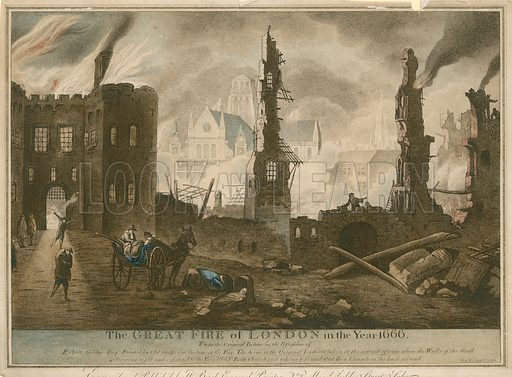 The Great Fire of London in the year 1666; The scene is the original Ludgate taken at the instant of time when the walls of the gaol adjoining it fell and exhibited to the view Old St Paul's Church just taking fire and Old Bow Church in the background.
