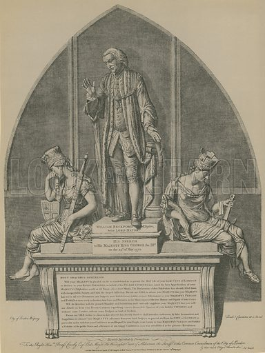 Statue of William Beckford in Guildhall, London; designed by John Moore; published 29 May 1771.