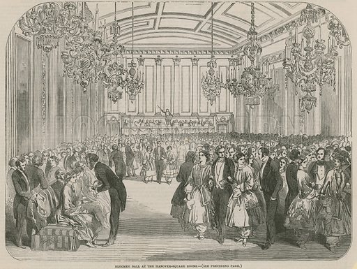 Bloomer Ball at the Hanover Square Rooms; from The Illustrated London News, 1851. Image via Look and Learn.