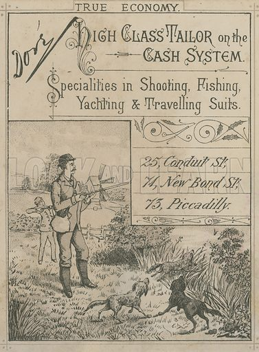 Advert for Dore, 73 Piccadilly, 74 New Bond Street, 25 Conduit Street, London; high class tailor, specialties in shooting, fishing, yachting and travelling suits.