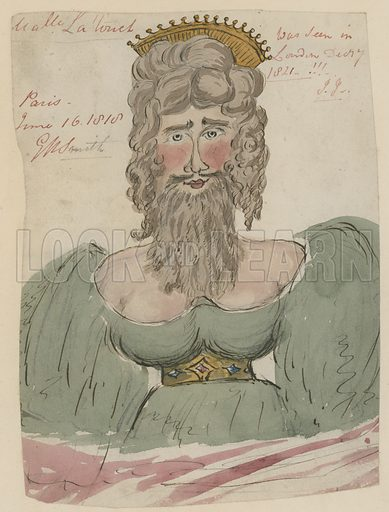 Mademoiselle Latouch, bearded lady, who appeared in Paris in 1818 and was seen in London in 1821.