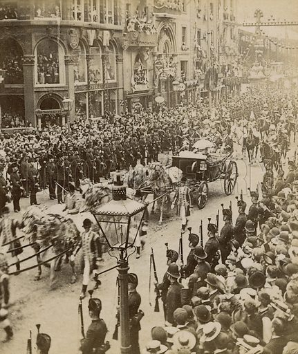 Queen Victoria, Diamond Jubilee, 1897. Single image from stereoscopic card.