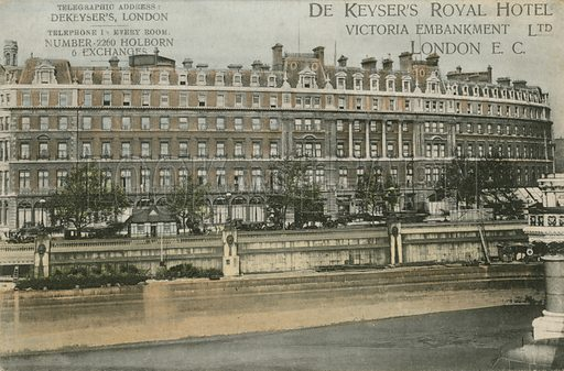 De Keyser's Royal Hotel, Victoria Embankment, EC.  Postcard.