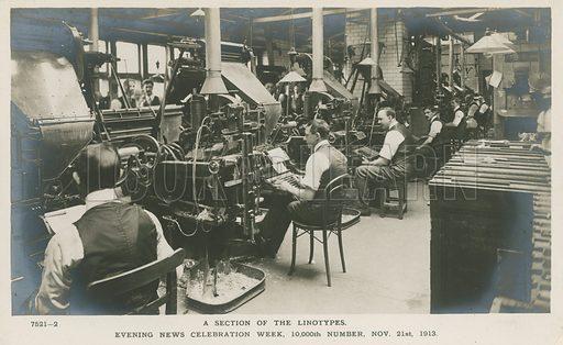 Linotypes. Evening News Celebration Week, 10,000th Number, 21 November 1913. Postcard.