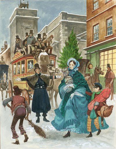 Victorian Christmas scene.  Original artwork.