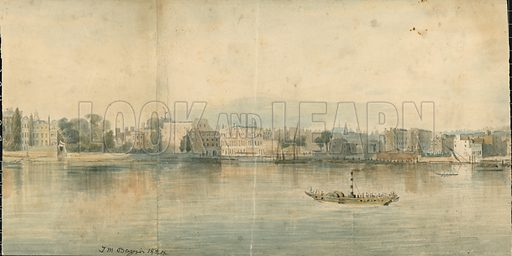 Panorama of the Thames.  Original artwork of the North Bank of the Thames, from Westminster bridge to London Bridge, showing the Proposed Quay, and some other improvements suggested by Lieutenant Colonel Trench.  Forms basis of lithographic panorama published by Hurst and Robinson, London, January 1825.