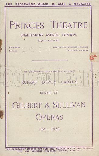 Princes Theatre, Gilbert and Sullivan operas, 1921-1922.