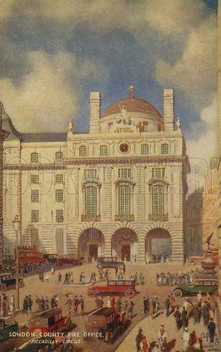London County Fire Office, Piccadilly Circus. Postcard of London after an original painting.