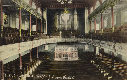 Interior of the City Temple, Holborn Viaduct, London.
