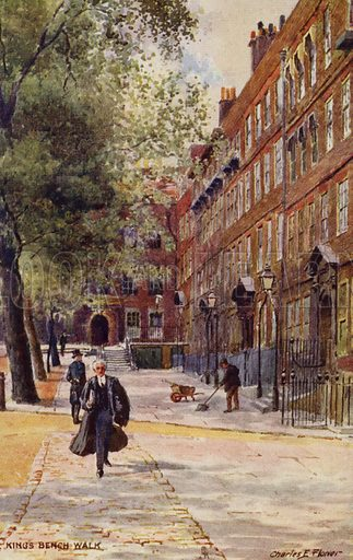 King's Bench Walk, London. Postcard reproduction of an original painting by Charles E Flower.