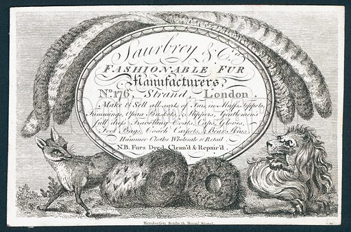 Saubry & Co, fashionable fur manufacturers, trade card. Engraved by Henderson, 15 Broad Street.
