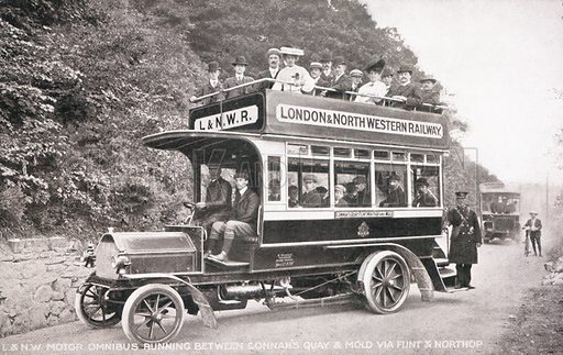 London and North Western Railway omnibus, running between Connah's Quay and Mold via Flint and Northop.