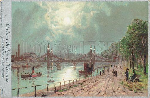 Chelsea Bridge on the River Thames, 4 miles from London Bridge. Published by Raphael Tuck & Sons.