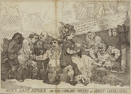 Wit's last stake or the cobling voters and abject canvassers, a canvassing scene in a poor district of Westminster. After Thomas Rowlandson, 1784.
