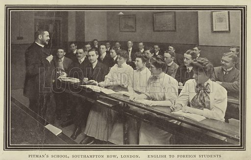 Foreign students learning English, Pitman's School, Southampton Row, London