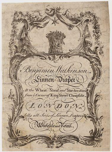 Linen Draper, Benjamin Watkinson, trade card