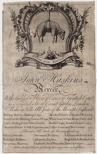 Mercer, John Haskins, trade card. Date, circa 1760.