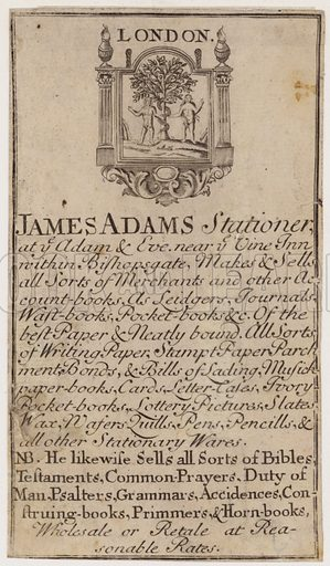 Stationers, James Adams, trade card
