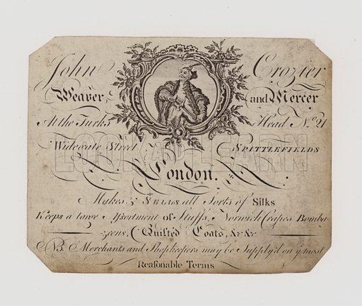 Weaver and Mercer, John Crozier, trade card
