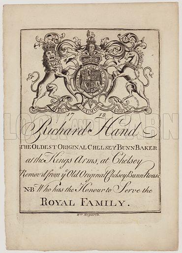 Bun Baker, Richard Hand, trade card.  Dated 1718.
