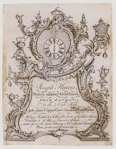 Clock and Watch Makers, Joseph Harris, trade card