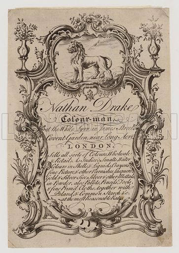 Colourmen, Nathan Drake, trade card. Successor to Robert Keating (1749–63), said to be earliest recorded artists' colourman.