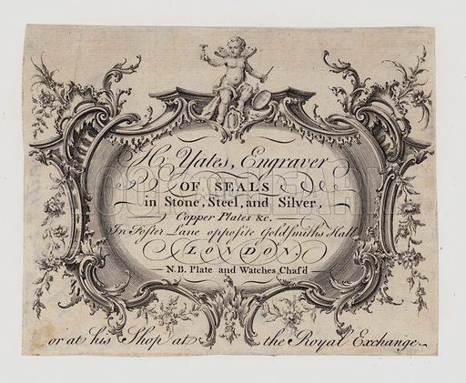 Engravers of Seals, H Yates, trade card