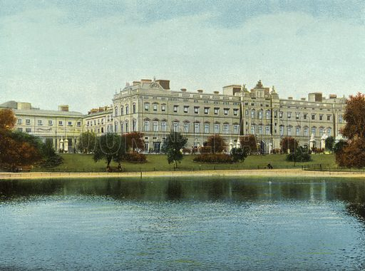 Buckingham Palace. Illustration for The Album of Coloured Views of London (Woodbury Series, c 1910).