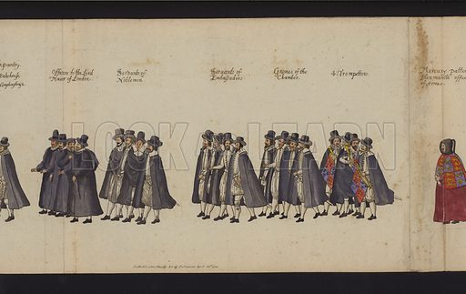 Queen Elizabeth I's Funeral Procession. Part of The Funeral Procession of Queen Elizabeth From a Drawing of the Time, Supposed to be by the Hand of William Camden (Society of Antiquaries, 1791). Folding panorama nearly 29 feet long.