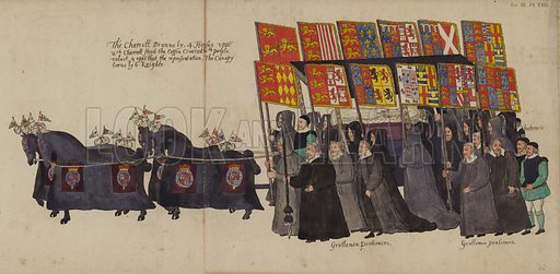 The Chariot in Queen Elizabeth I's Funeral Procession. Part of The Funeral Procession of Queen Elizabeth From a Drawing of the Time, Supposed to be by the Hand of William Camden (Society of Antiquaries, 1791). Folding panorama nearly 29 feet long.