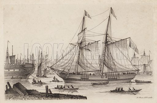 Vessels off the Tower. Illustration for Sketches of Shipping Drawn and Etchd by Henry Moses, 1824.