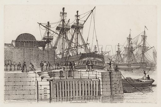 London Docks. Illustration for Sketches of Shipping Drawn and Etchd by Henry Moses, 1824.