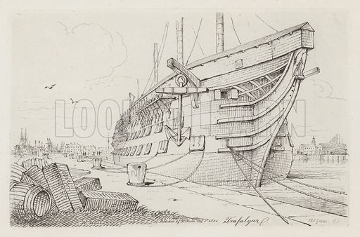 Trafalgar. Illustration for Sketches of Shipping Drawn and Etchd by Henry Moses, 1824.
