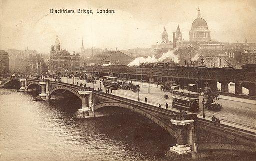 Blackfriars Bridge, London. Postcard, early 20th century.