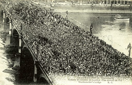 Victory Celebrations, Westminster Bridge, London, Crowd. Postcard, early 20th century.